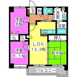 福岡県福岡市東区社領1丁目の賃貸マンションの間取り