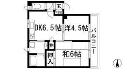 大阪府池田市鉢塚2丁目の賃貸マンションの間取り