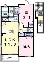 アベニールフルール[2階]の間取り