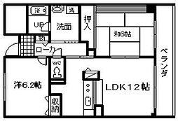 ロイヤルフラット壱番館[4階]の間取り