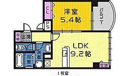 JR阪和線 堺市駅 徒歩3分の賃貸マンション 8階1LDKの間取り