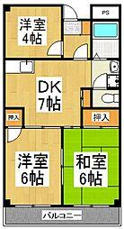 ハイツ久米川[2階]の間取り