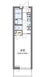 クレイノMIIWA 1階1Kの間取り