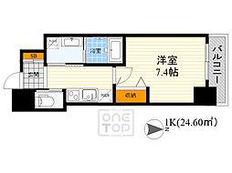 北大阪急行電鉄 江坂駅 徒歩5分の賃貸マンション 11階1Kの間取り