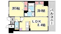 エステムプラザ神戸大開通ルミナス[8F号室]の間取り