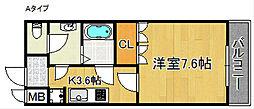 ラ・メールAKAI 1階1Kの間取り