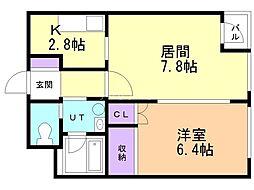 マンション春香 1階1LDKの間取り