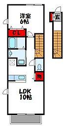 西鉄貝塚線 西鉄新宮駅 徒歩11分の賃貸アパート 2階1LDKの間取り