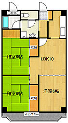 JR仙石線 仙台駅 徒歩15分の賃貸マンション 4階3LDKの間取り
