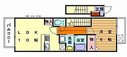 福岡県福岡市東区青葉2丁目の賃貸アパートの間取り