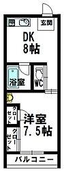 日南市サカモトコーポ 1階1DKの間取り