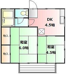 神奈川県秦野市堀西の賃貸アパートの間取り
