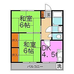龍野ハイツ[3階]の間取り