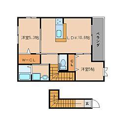 静岡県静岡市清水区長崎新田の賃貸アパートの間取り