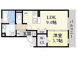 阪急千里線 山田駅 徒歩20分の賃貸アパート 3階1LDKの間取り