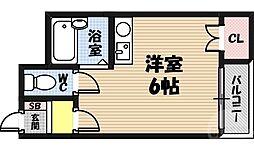ドゥファミーユ 6階ワンルームの間取り