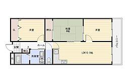 Osaka Metro谷町線 出戸駅 徒歩4分の賃貸マンション 3階3LDKの間取り