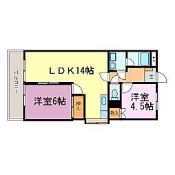 愛知県知多市朝倉町の賃貸マンションの間取り