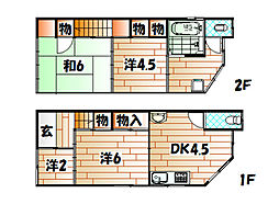 [一戸建] 福岡県北九州市八幡東区枝光1丁目 の賃貸【/】の間取り