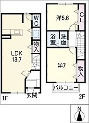 [タウンハウス] 愛知県名古屋市中村区稲上町2丁目 の賃貸【/】の間取り