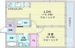 JR東北本線 太子堂駅 徒歩8分の賃貸マンション 1階1LDKの間取り