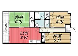 千葉県成田市囲護台1丁目の賃貸マンションの間取り
