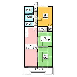 オーキッドマンション桜馬場[5階]の間取り