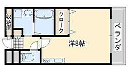 南海線 岡田浦駅 徒歩2分の賃貸マンション 1階ワンルームの間取り