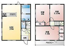 [テラスハウス] 神奈川県横浜市戸塚区平戸5丁目 の賃貸【/】の間取り