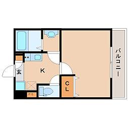 阪神本線 尼崎駅 徒歩10分の賃貸アパート 1階1Kの間取り