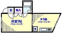 クレスト東菅野[102号室]の間取り