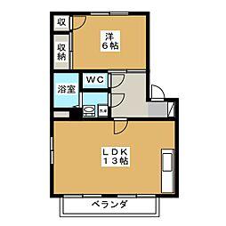 カルティエ弐番館 A棟[2階]の間取り