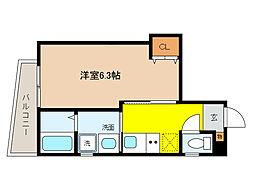 阪神本線 打出駅 徒歩3分の賃貸マンション 3階1Kの間取り