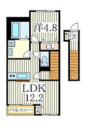 バル ヴィラージュ 2階1LDKの間取り