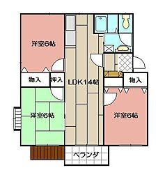 ビスクガーデン B棟[102号室]の間取り
