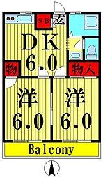 ニュー澤田ハイツB[304号室]の間取り