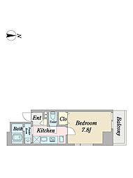 Villa Stellaparc 6階1Kの間取り