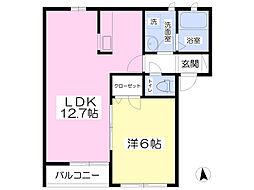 JR東北本線 宇都宮駅 バス34分 下赤羽下車 徒歩3分の賃貸アパート 2階1LDKの間取り