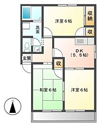 愛知県みよし市三好丘緑4丁目の賃貸アパートの間取り