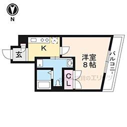 京福電気鉄道北野線 北野白梅町駅 徒歩22分の賃貸マンション 2階1Kの間取り