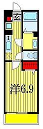 JR総武線 下総中山駅 徒歩12分の賃貸マンション 1階1Kの間取り