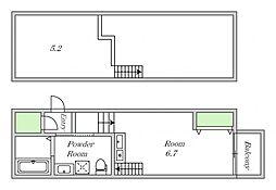 Osaka Metro谷町線 田辺駅 徒歩6分の賃貸アパート 2階ワンルームの間取り