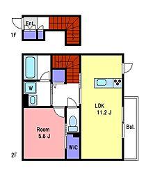 京王線 調布駅 徒歩7分の賃貸アパート 1階1LDKの間取り