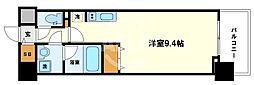 コンフォリア京町堀 15階ワンルームの間取り
