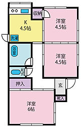 JR身延線 国母駅 徒歩15分の賃貸一戸建て 3Kの間取り