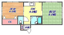 第3サンコービル[3F号室]の間取り