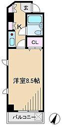 ビーケーワンフラット[3階]の間取り