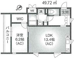 東京メトロ千代田線 明治神宮前駅 徒歩10分の賃貸マンション 4階1LDKの間取り