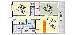 ヒュース泉大津[7階]の間取り