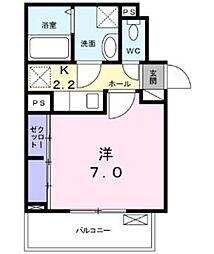グランディア 矢田 1階1Kの間取り